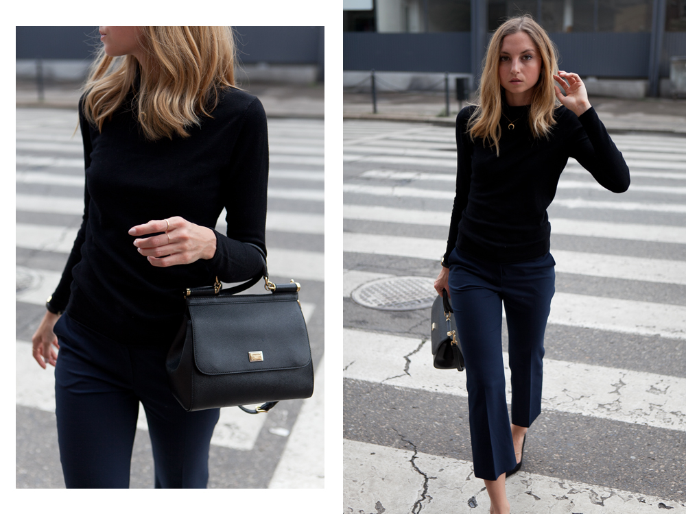 3f6e25d4 Wearing Outfitformat cropped flare trousers, Solar turtleneck (similar here  and here), Zara pumps, Dolce & Gabbana bag, Lumo necklace and rings.